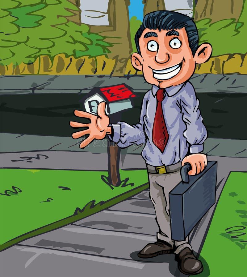 Karikaturverkäufer an der Tür lizenzfreie abbildung