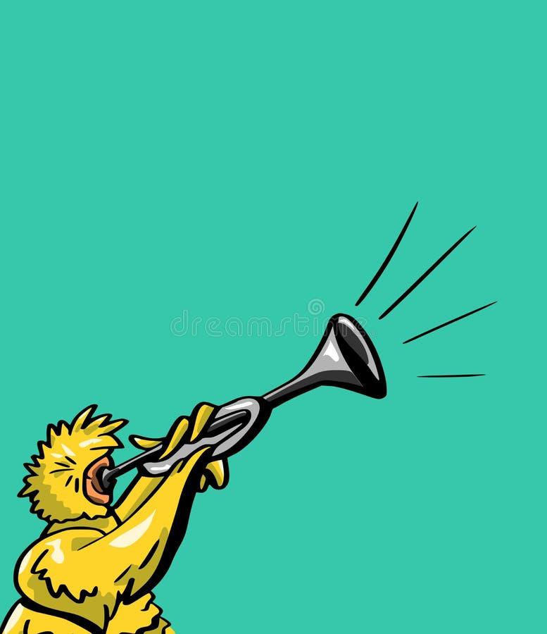 Karikaturvogel brennt auf einem Horn durch stock abbildung