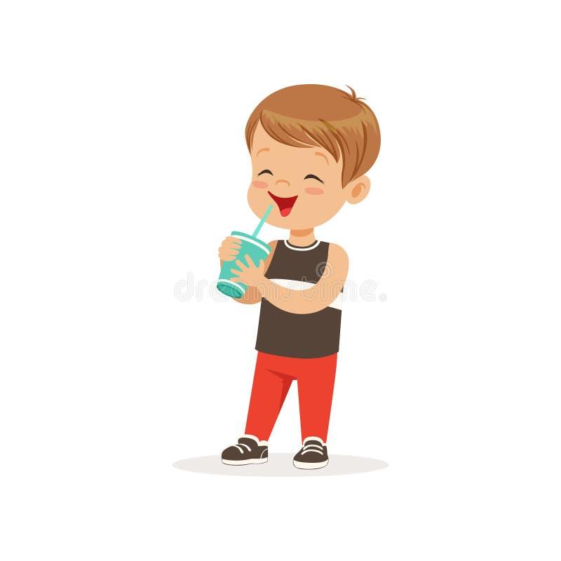 Karikaturvorschuljunge, der sein Milchcocktail trinkt zicklein lizenzfreie abbildung