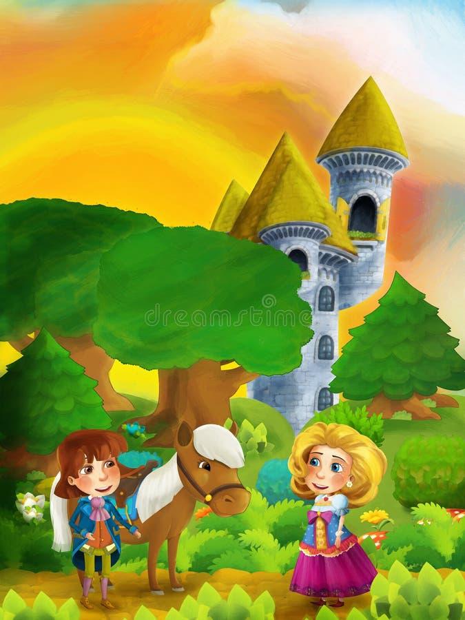 Karikaturwaldszene mit Prinzen mit seinem Pferd und Prinzessin, die auf dem Weg nahe Schlossturm stehen und sprechen vektor abbildung