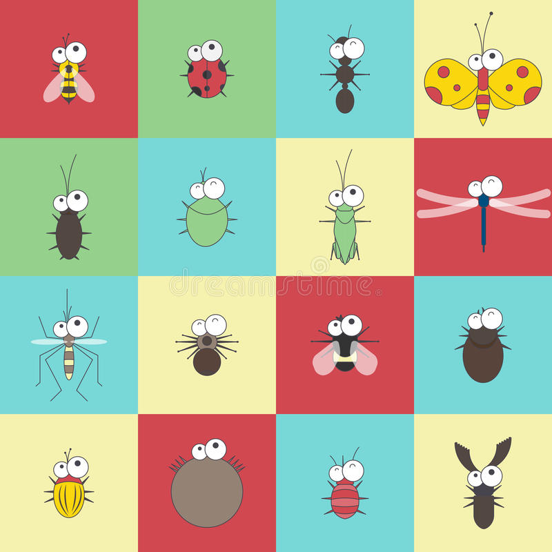 Karikaturwanzen-Insektensatz des Vektors flacher lustiger stock abbildung