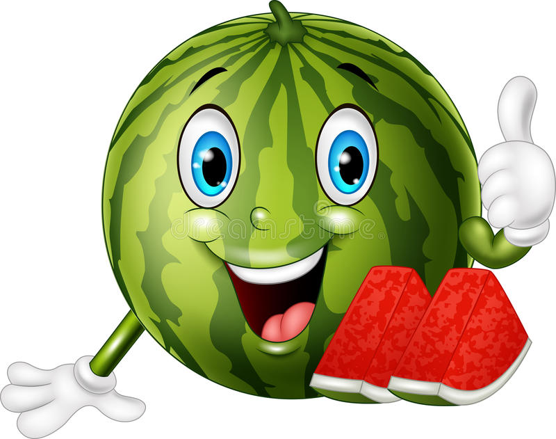 Karikaturwassermelone, die Daumen aufgibt vektor abbildung