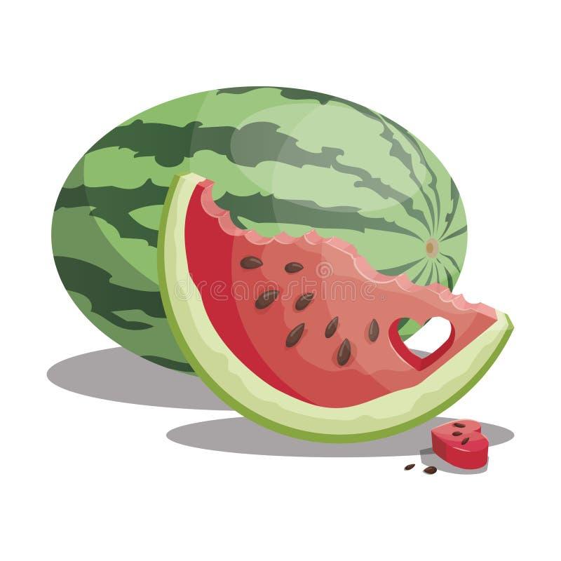 Karikaturwassermelone Geschnittene süße Wassermelone Stücke saftige Frucht Sommervitaminfrucht Abbildung für Kinder stock abbildung