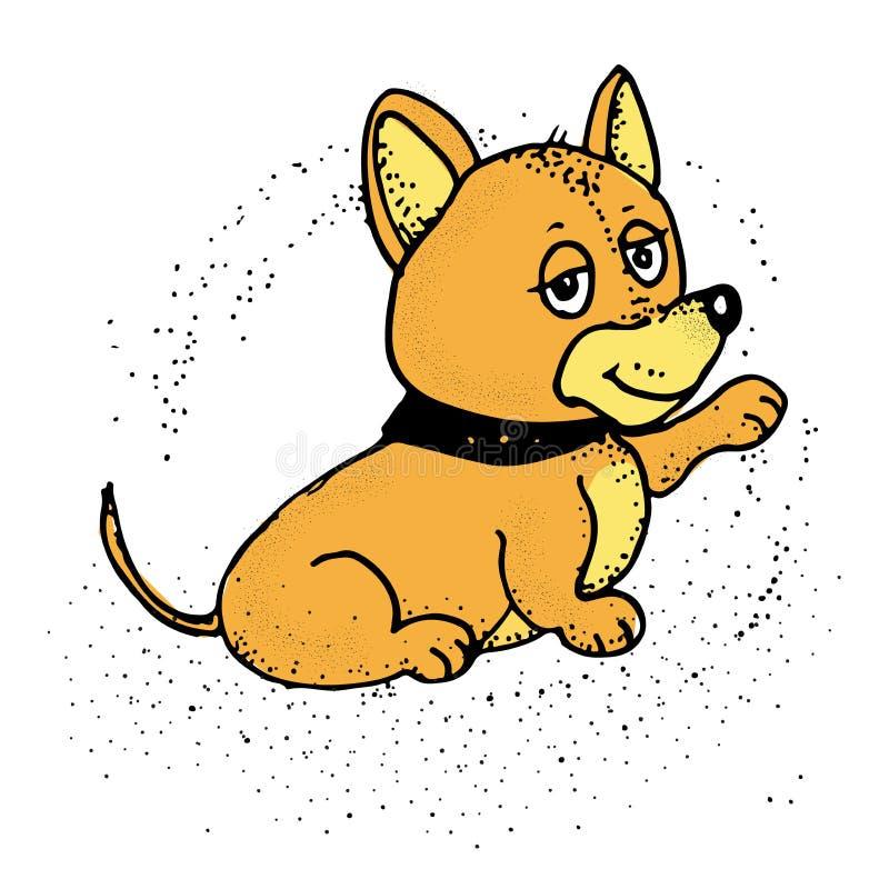 Karikaturwelpensitzen, Porträt des netten kleiner Hundetragenden Kragens stock abbildung