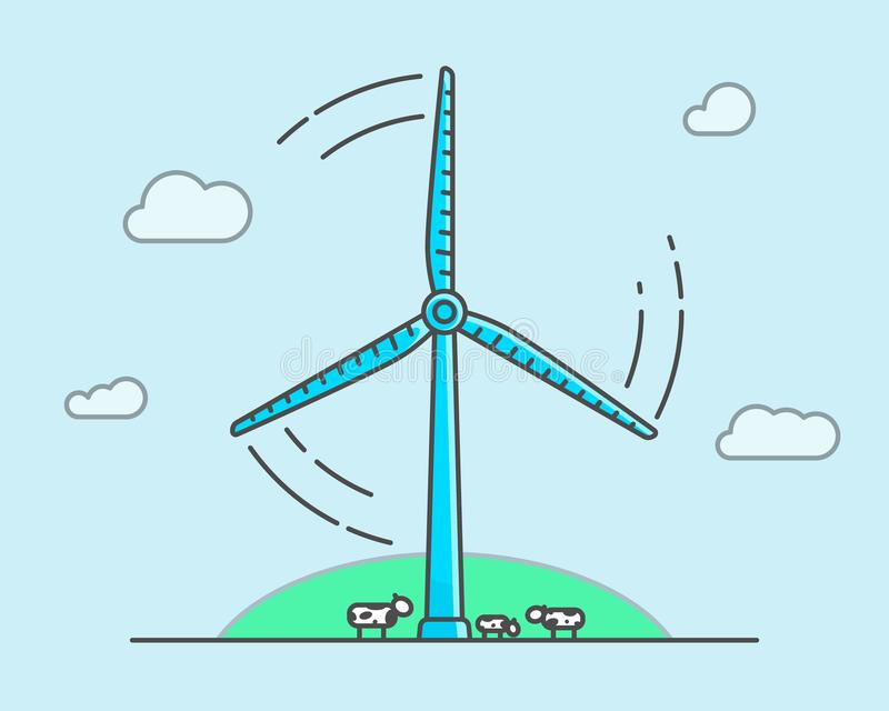 Karikaturwindkraftanlage auf hellblauem Hintergrund, Ökologiekonzept lizenzfreie abbildung