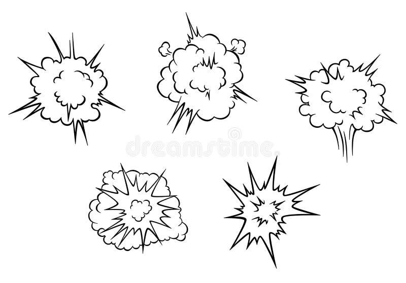 Karikaturwolken der Explosion lizenzfreie abbildung