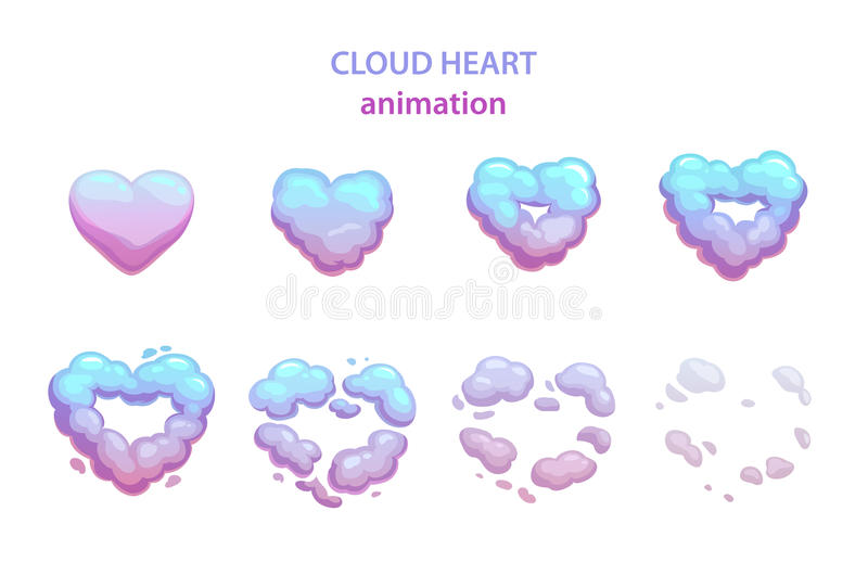 Karikaturwolken-Herzexplosion stock abbildung