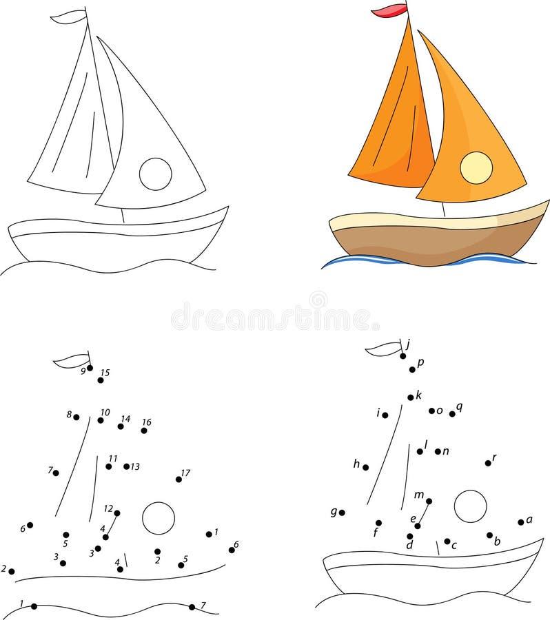 Karikaturyacht Malbuch und Punkt, zum des Spiels für Kinder zu punktieren vektor abbildung