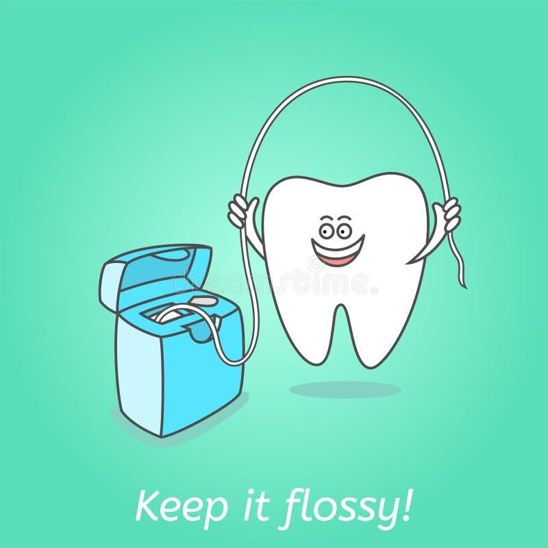 Karikaturzahn mit Zahnseide Zahnheilkundeplakat vektor abbildung