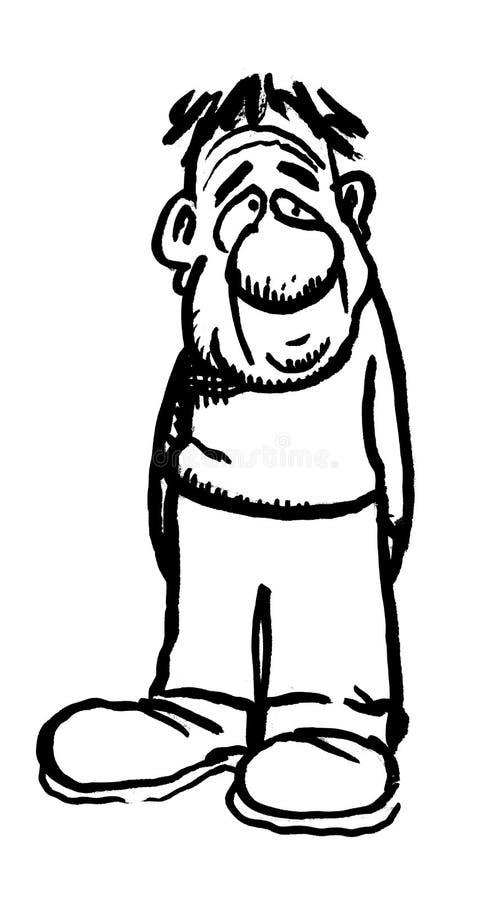 Karikaturzeichnung von einem dummen lizenzfreie abbildung