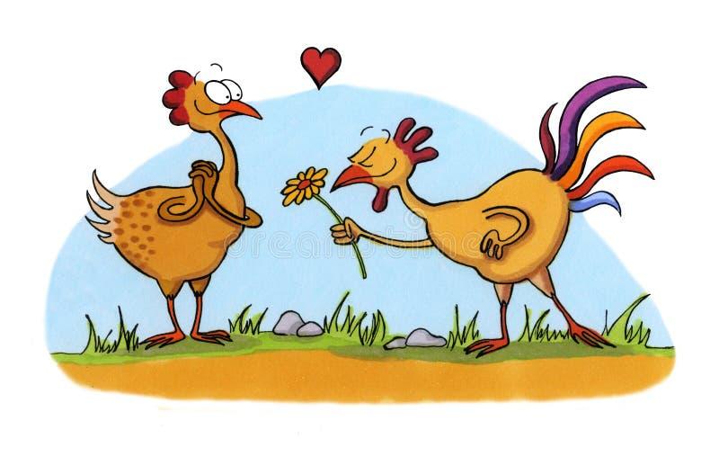 Karikaturzeichnung von Huhn zwei in der Liebe stock abbildung