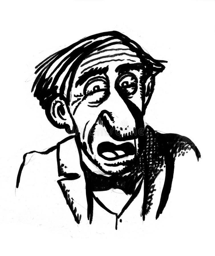 Karikaturzeichnungsbutler erschrocken stock abbildung