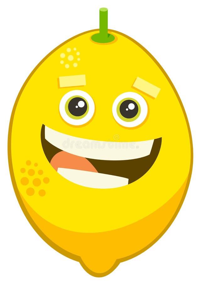 Karikaturzitronen-Fruchtcharakter lizenzfreie abbildung