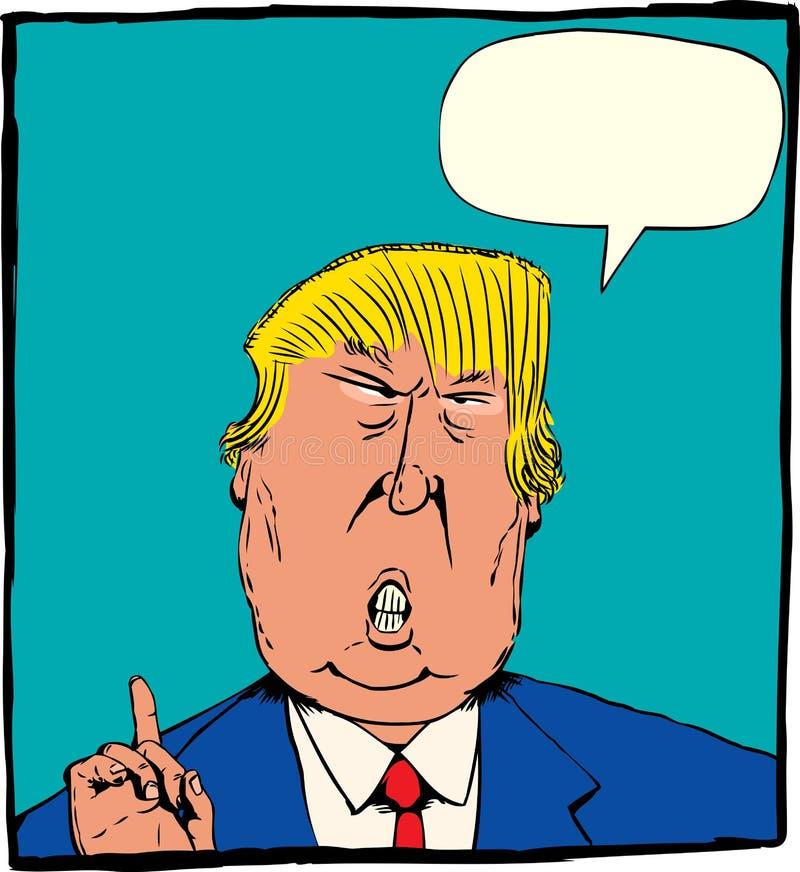 Karikatuur van Donald Trump met Word Ballon vector illustratie