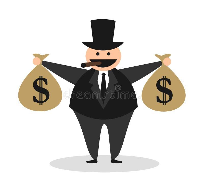 Karikatuur van gulzige vette lelijke rijke kapitalist vector illustratie