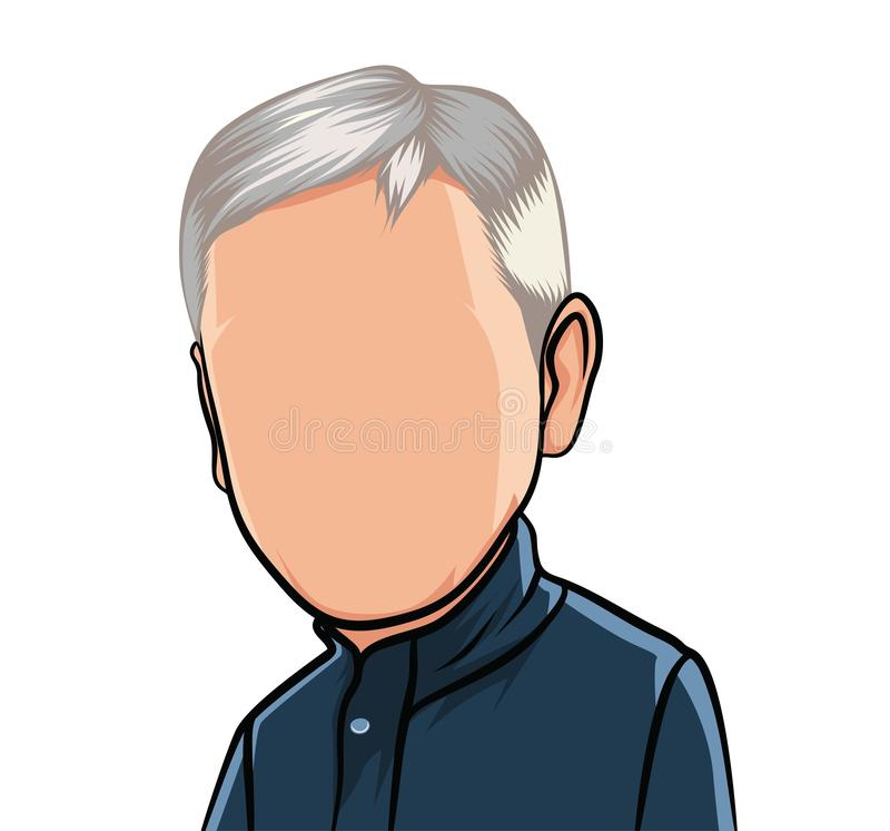 Karikatuur van portretten, illustraties van een mannelijk lichaam met een donkerblauw overhemd stock illustratie