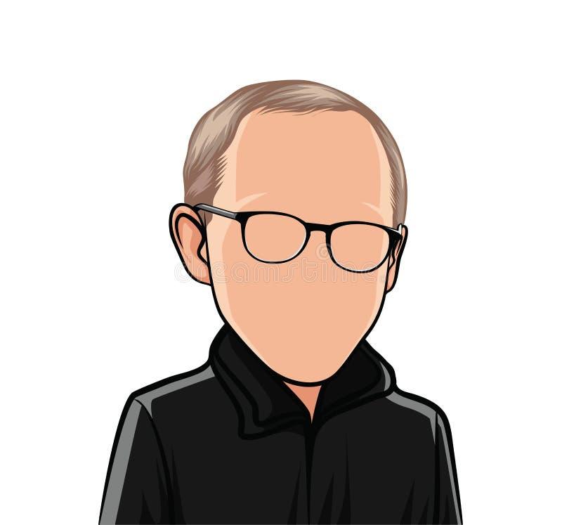 Karikatuur van portretten, illustraties van een mannelijk lichaam met een zwart jasje en glazen vector illustratie