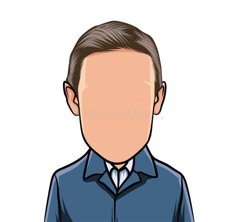 Karikatuur van portretten, illustraties van mannelijke organismen in blauwe kostuums vector illustratie