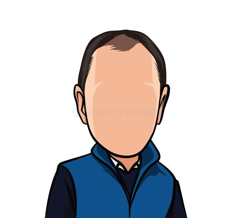 Karikatuur van portretten, illustraties van mannelijke organismen in blauwe zwarte kleren stock illustratie