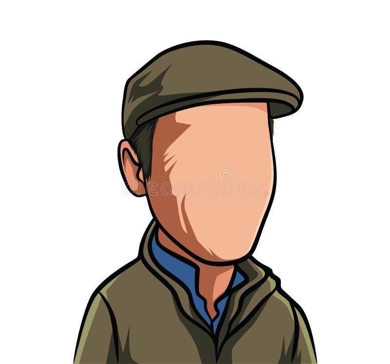 Karikatuur van portretten, illustraties van mannelijke organismen met bruine kleren, en hoeden stock illustratie