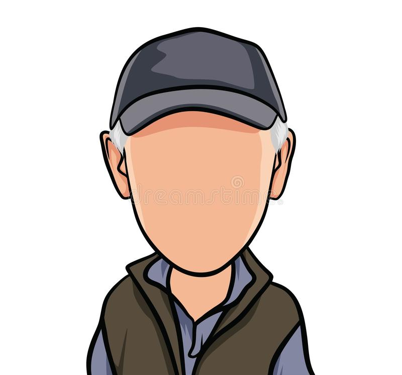 Karikatuur van portretten, illustraties van mannelijke organismen met pur ple vesten, blauwe overhemden en hoeden stock illustratie