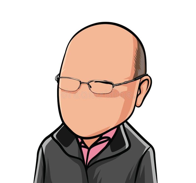 Karikatuur van portretten, illustraties van mannelijke organismen in zwarte jasjes stock illustratie