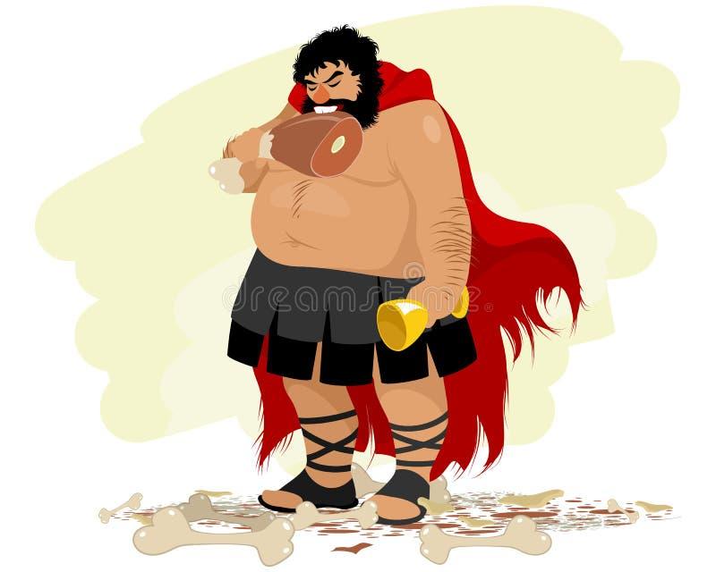 Karikatuur van zwaarlijvige Spartaans royalty-vrije stock afbeeldingen