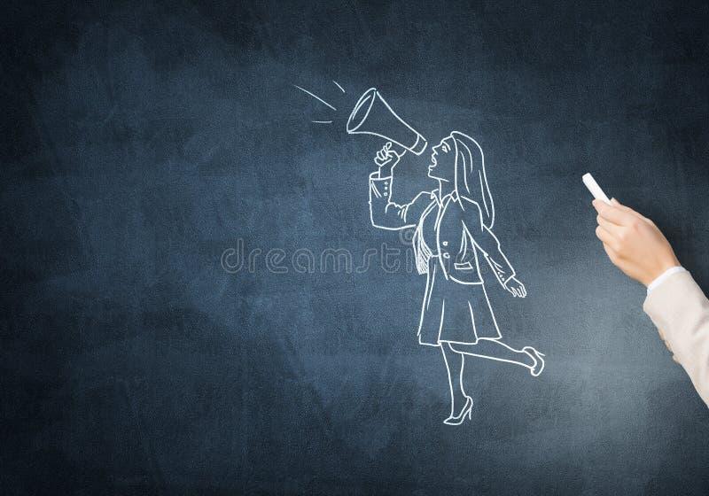 Karikatyr av affärskvinnan royaltyfri foto