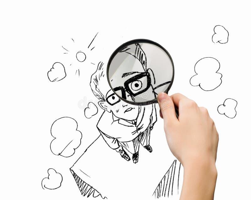 Karikatyr av affärsmannen arkivfoto