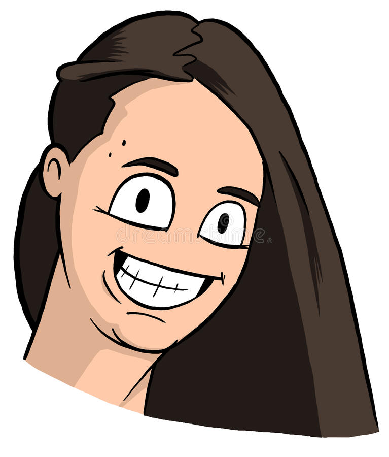 Karikatyr av den freckly flickan med hår för mörk brunt, stora ögon och stort leende royaltyfria bilder