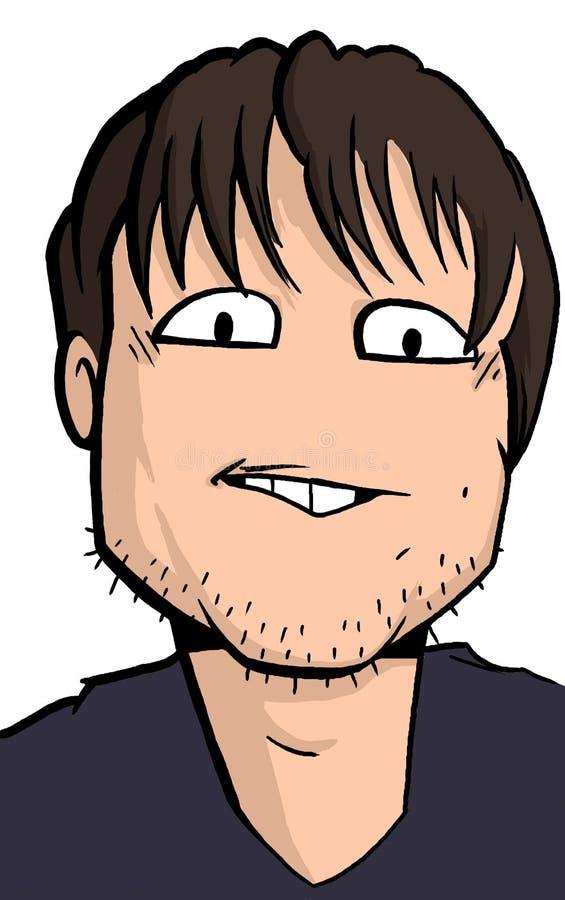 Karikatyr av den unga mannen med skäggstubb royaltyfri fotografi