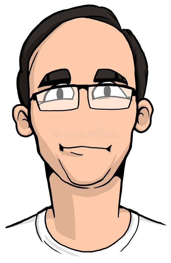 Karikatyr av den unga mannen med svart hår royaltyfria foton