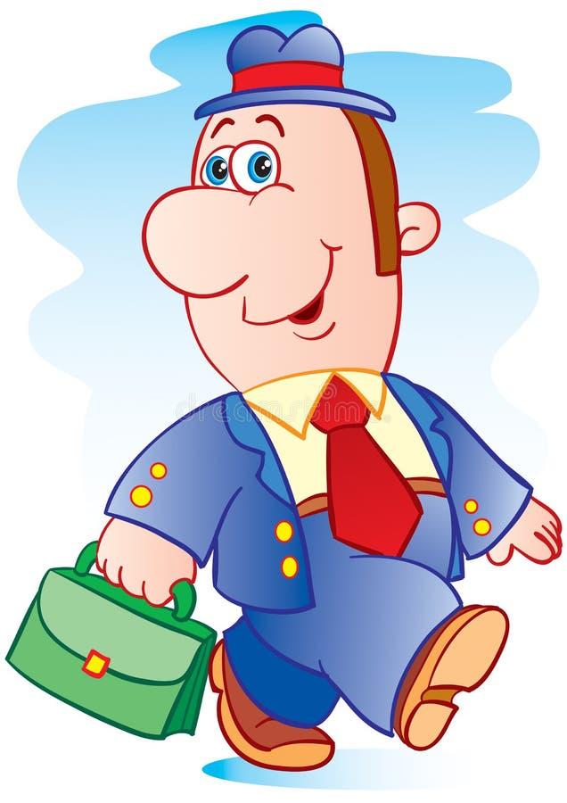 Karikatyr av en affärsman i en hatt med en grön portfölj, vektorillustration, steg stock illustrationer