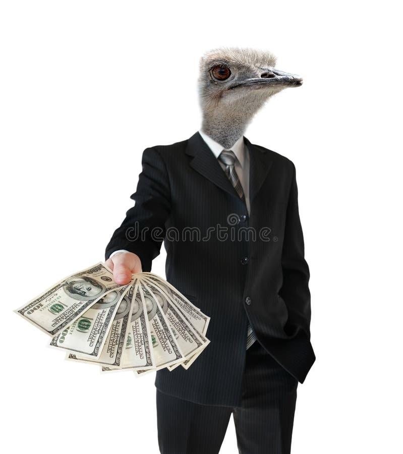 Karikatyr av en bankir som ger ett lån, på en vit bakgrund arkivfoto