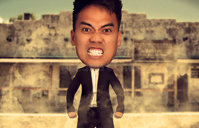 Karikatyr av en ilsken man royaltyfri fotografi