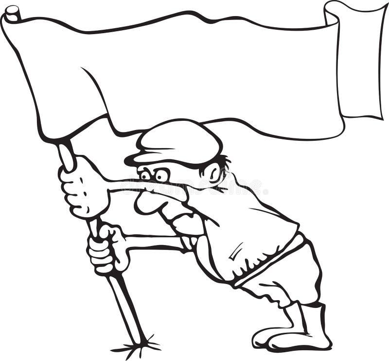 Karikatyr av en man som rymmer en flagga i hans händer stock illustrationer