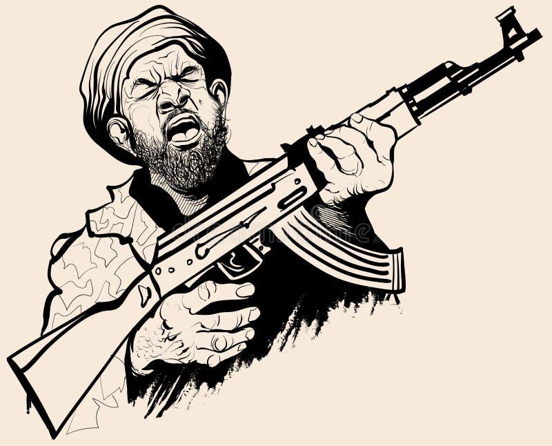 Karikatyr av en terrorist stock illustrationer