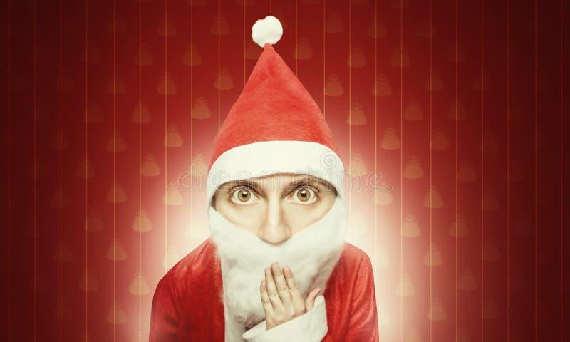 Karikatyr av förvånade Santa Claus fotografering för bildbyråer