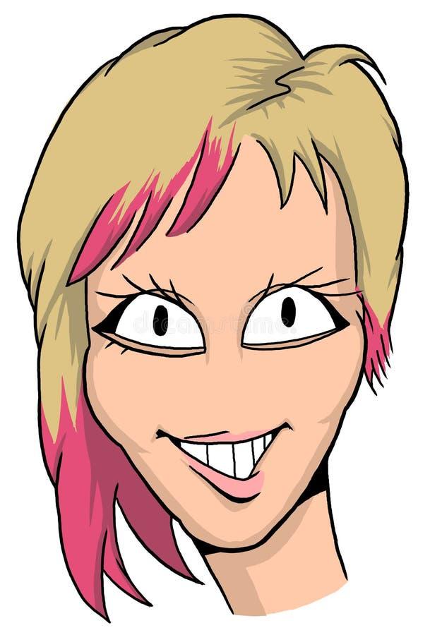 Karikatyr av flickan med blont och rött hår, rosa kanter och stor smyle royaltyfria bilder