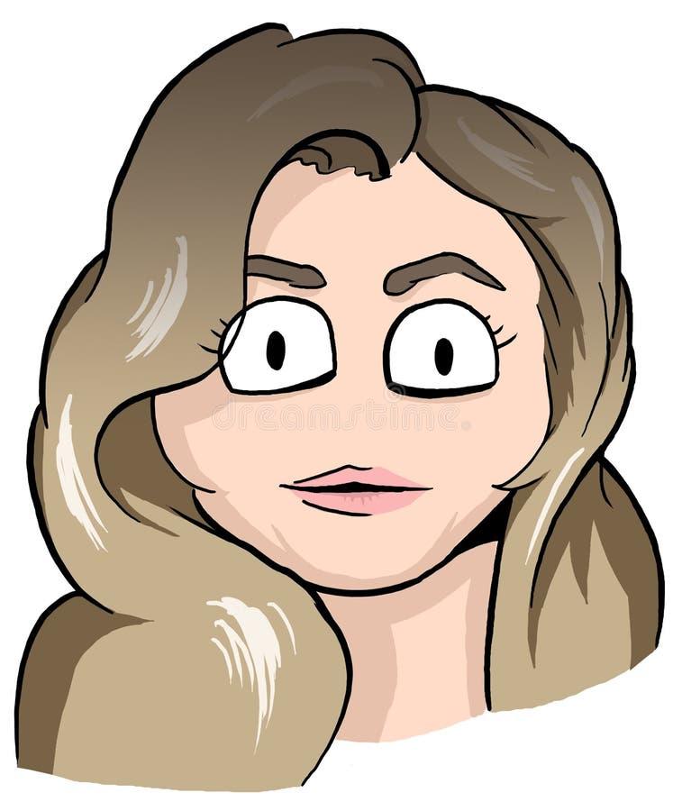 Karikatyr av flickan med smutsigt blont hår, det djärva ögonbrynet och rosa färgkanter royaltyfri bild