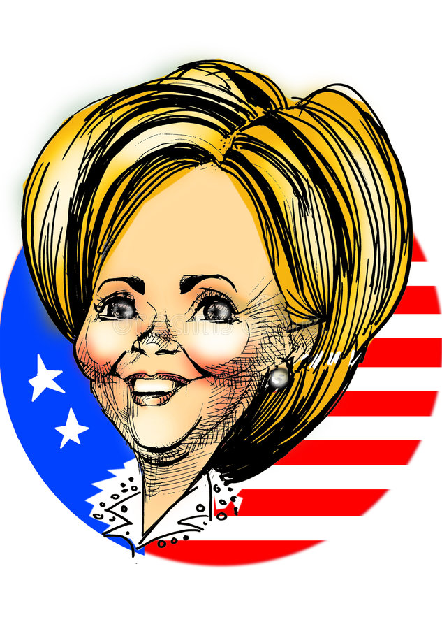 karikatyr clinton hillary stock illustrationer
