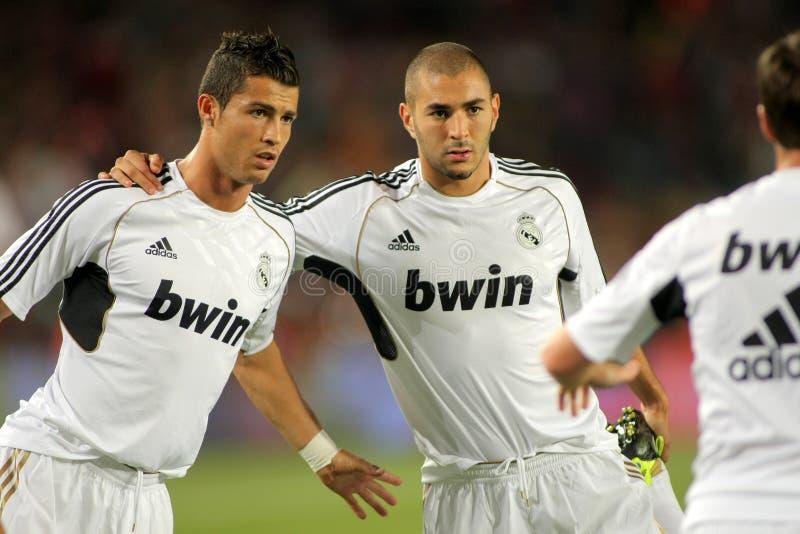 Karim Benzema et Cristiano Ronaldo photos libres de droits