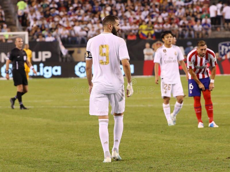 Karim Benzema von Real Madrid #9 in der Aktion während des Anpassung an Atletico De Madrid in der 2019 internationalen Meistersch stockfotografie