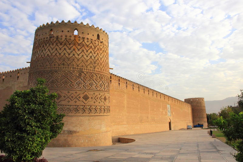 The Karim Khan Castle in Shiraz city, Iran. The Karim Khan Castle (Arg-e Karim Khan) is a citadel located in the downtown Shiraz, southern Iran. It was built as royalty free stock photography