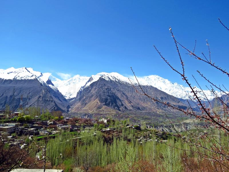 Karimabad fand in Hunza-Tal, Karakorum, Pakistan lizenzfreies stockfoto