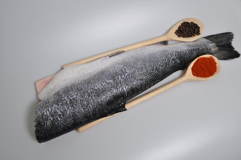 Karkas van rode vissen zonder een hoofd royalty-vrije stock afbeeldingen