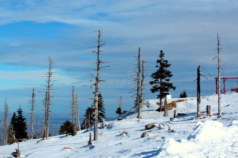 Karkonoska通行证在冬天 库存图片