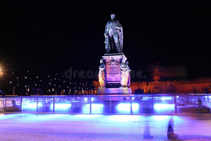 Karl Friedrich von Baden monument in Karlsruhe. Karl Friedrich von Baden (Charles Frederick, Grand Duke of Baden) monument in front of the Palace in Karlsruhe royalty free stock images