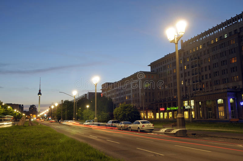 Karl-Marx-Allee. And television tower in Berlin in twilight stock photo