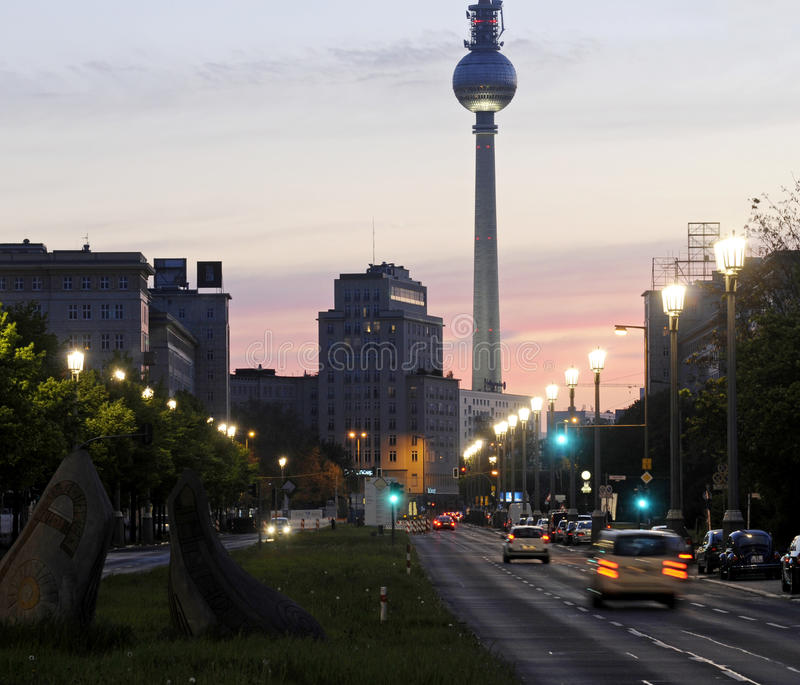 Karl-Marx-Allee. And television tower in Berlin in twilight royalty free stock photo